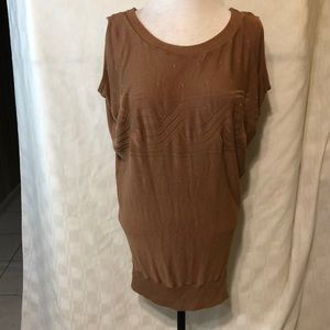 Windsor Extra Long Brown Sleeveless Sweater Size L